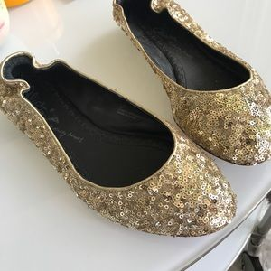 Alice & Olivia Gold Sequin Ballet Flats